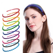 2019 Hot Sale New Arrival Plastic Round Coroa De Noiva Bride Seven Color Wavy Hair Hoop Candy Jewelry Simple Headband 3pcs/set
