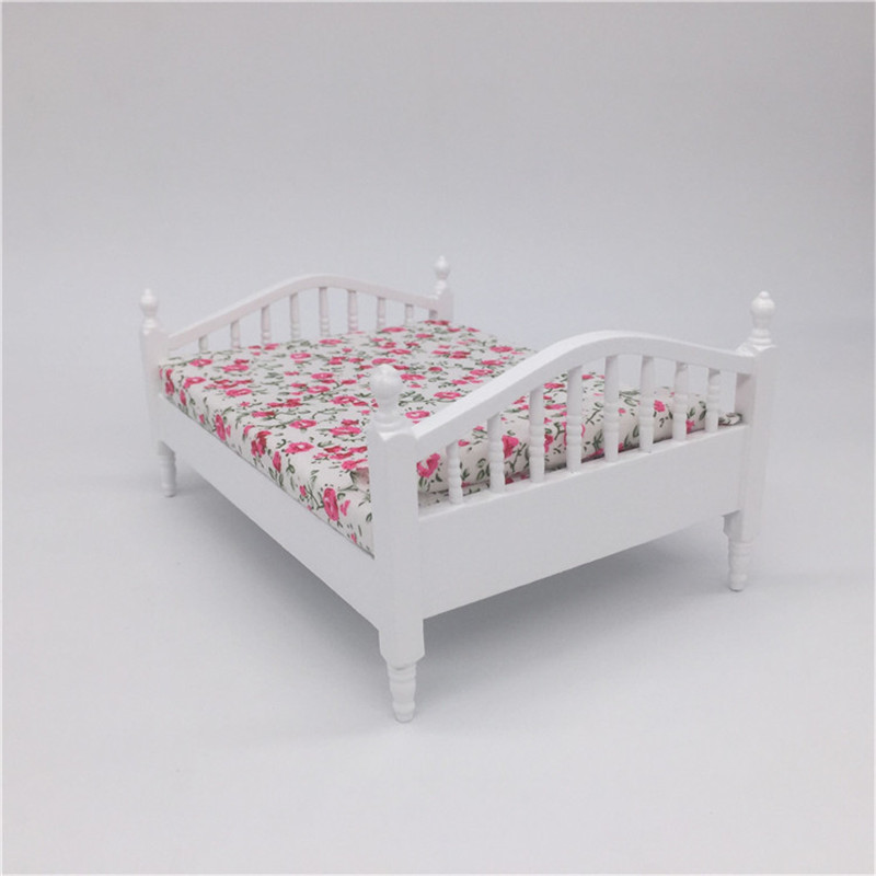 1 12 Wooden miniature bed for dolls Dollhouse Furniture toy simulation doll house girls Bedroom pretend play toys for children in Furniture Toys from Toys Hobbies