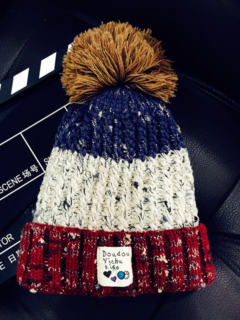 88404424186 New Fashion Casual Winter Women s Color Matching Velvet Warm Thickening  Wool Hat Han Edition Heavy Hair Ball Knitted Cap