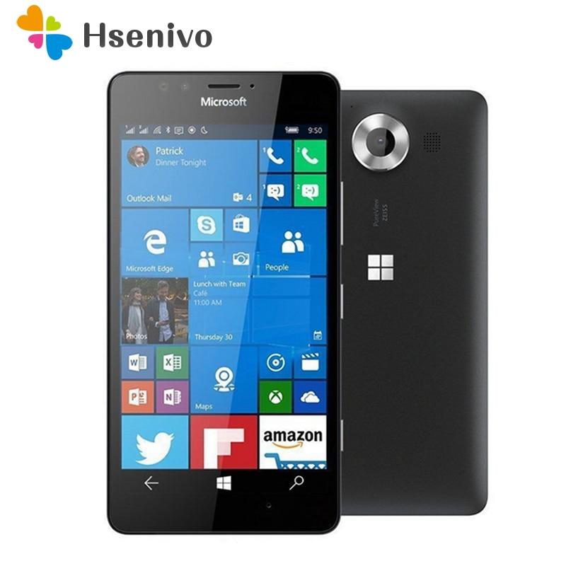 950 Originale Per Nokia Microsoft Lumia 950 Finestre 10 Sbloccato 4g LTE GSM 5.2 '20MP WIFI GPS Hexa Core 3 gb di RAM 32 gb di ROM Spedizione gratuita