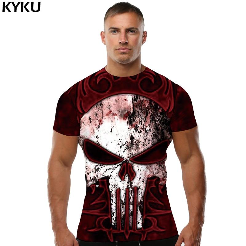 KYKU Skull T shirt Punk Tshirt Punisher shirts  Tops  T-shirt  Tees Men Short Sleeve Male Punk 2018