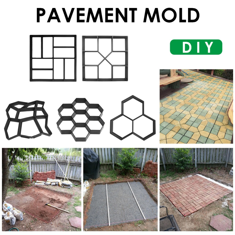 Garden Paving Molds DIY Plastic Walk Manually Road Path Maker Garden Propylene Paving Cement Brick Stone Concrete Mould