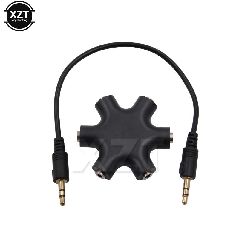 3.5mm Jack 6 Way Multi Port Hub Aux Headphone Splitter Useful Audio Cable Adapter Converter Earphone Accessory