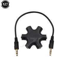 3.5 jack 3.5mm 6 way multi port hub 3.5, adaptador adaptador de cabo de áudio conversor telefone fone de ouvido mp3 acessório