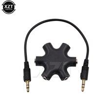 3.5 Jack 3.5mm 6 yollu çoklu bağlantı noktası Hub 3.5 Aux Splitter adaptörü ses kablosu adaptörü dönüştürücü telefon kulaklık mp3 aksesuar