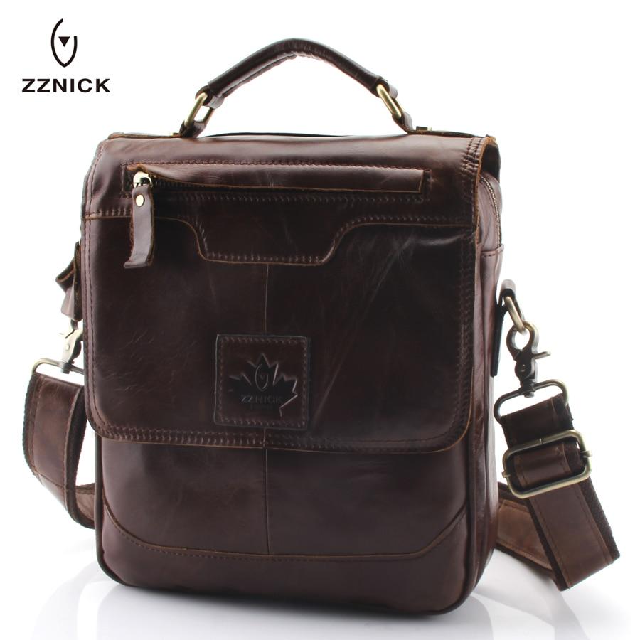 все цены на ZZNICK Men 100% Genuine Cow Leather Crossbody Shoulder Bag Men Messenger Bag Vintage Leather Male Business Bag Briefcase Handbag