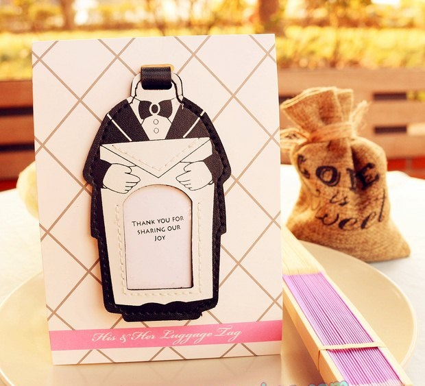 50pcs groom design luggage tag wedding gift favor for unique bridal shower favors and wedding decorations wen4307 in party favors from home garden on
