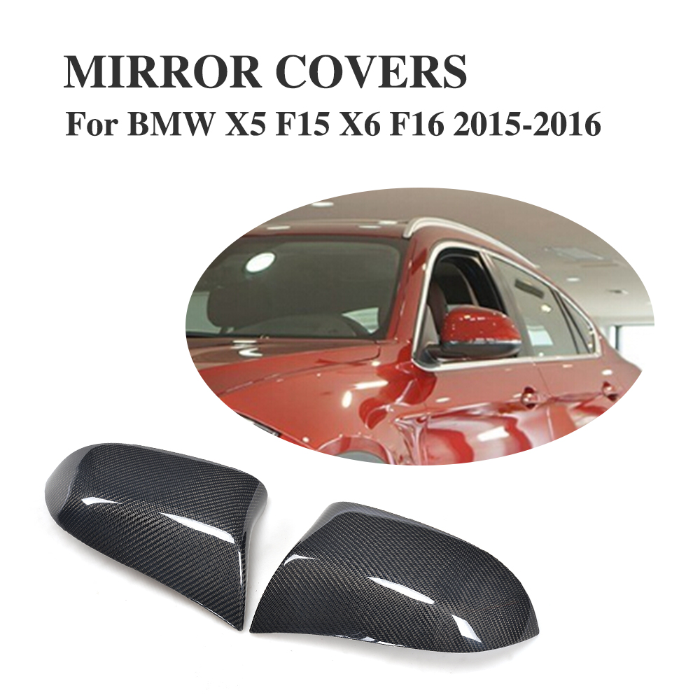 цена на carbon fiber Replacement Style Side Wing Mirror Covers for BMW X5 F15 X6 F16 2015-2016 Rearview Mirror Caps Car Tuning Parts