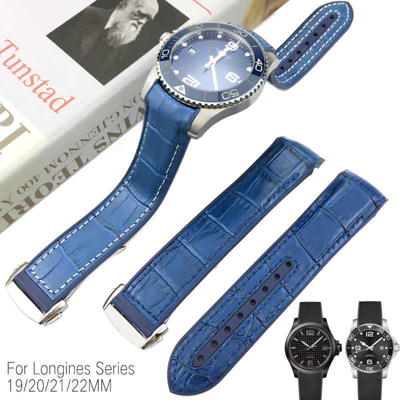 19mm 20mm 21mm 22mm Rubber Silicone With Nylon Watch Strap New Style Cowhide Watchband Suitable for