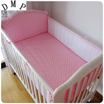 Promotion! 5PCS Mesh Baby Cot Bedding Set for Girls Cartoon Newborn Baby Bed Linens Cotton,include(4bumpers+sheet)