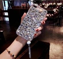 Bling Gioiello di Strass di Cristallo del Diamante di Bling Molle Posteriore Del Pendente Del Telefono Della Copertura di Caso Per il iPhone 12 11 Pro MAX X 6s 7 8 più di 5 XR Xs Max