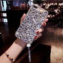 XSMYiss Bling Mücevherli Rhinestone Kristal Elmas Yumuşak Geri Kolye telefon kılıfı Kapak iPhone X 6 s 7 8 Artı 5 SE XR Xs Max