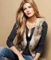 Alishebuy women Fashion fur vest coat faux fur vest casual female cardigans winter warm short vest waistcoat