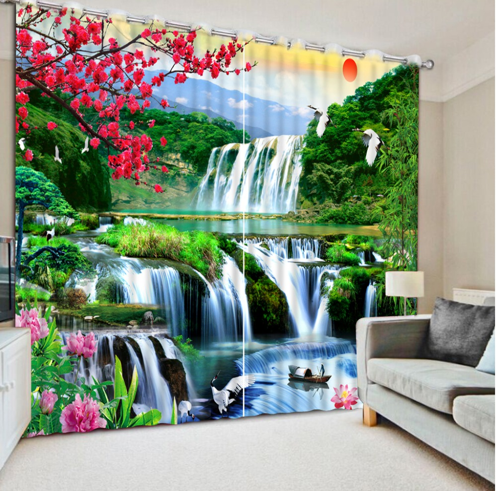 Luxury Blackout 3D Window Curtain For Living Room waterfall scenery curtains Luxury Blackout 3D Window Curtain For Living Room waterfall scenery curtains