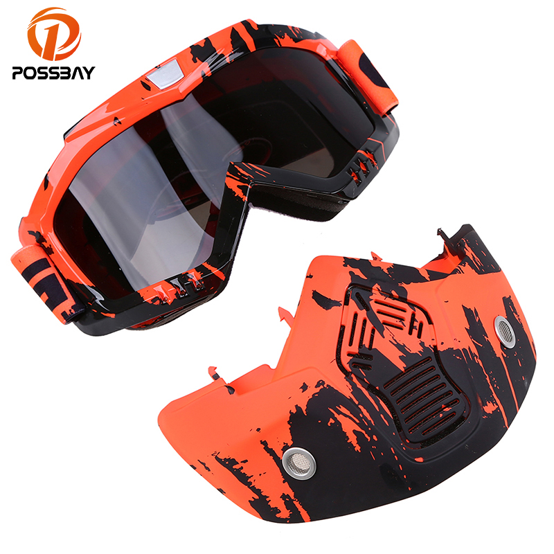 POSSBAY 13 Styles Men Women Skiing Eyewear Motorcycle Motocross Racing Helmet Goggles UV Protective Glasses With Face Mask