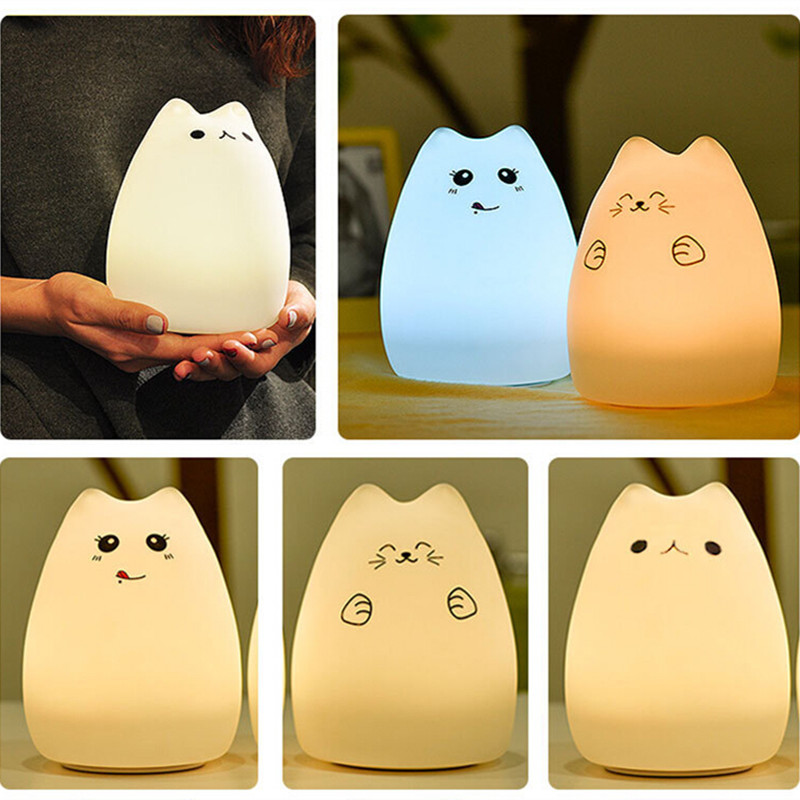 Squishy Cat Night Light : Cute Cat LED Night Light Colorful Cartoon Animal Night Lamp Silicone Soft Nursery Children Kids ...