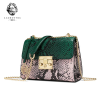 Laorentou Valentine's Day gift Leather Bag Women Shoulder Bags Wild Snake Pattern Handbags Women Crossbody Bags
