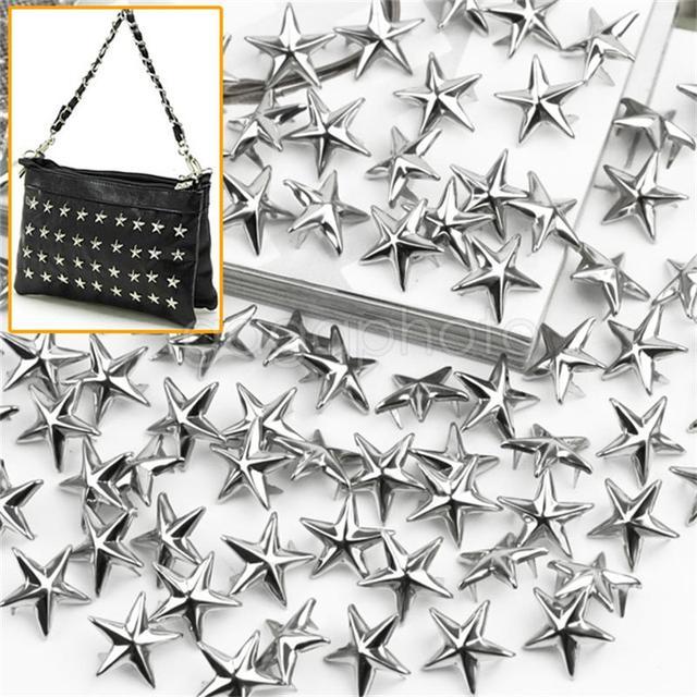 100 pcs 15mm Silver Star Shape Spikes Studs Spot Rivets for Clothes Bag Shoes Leather
