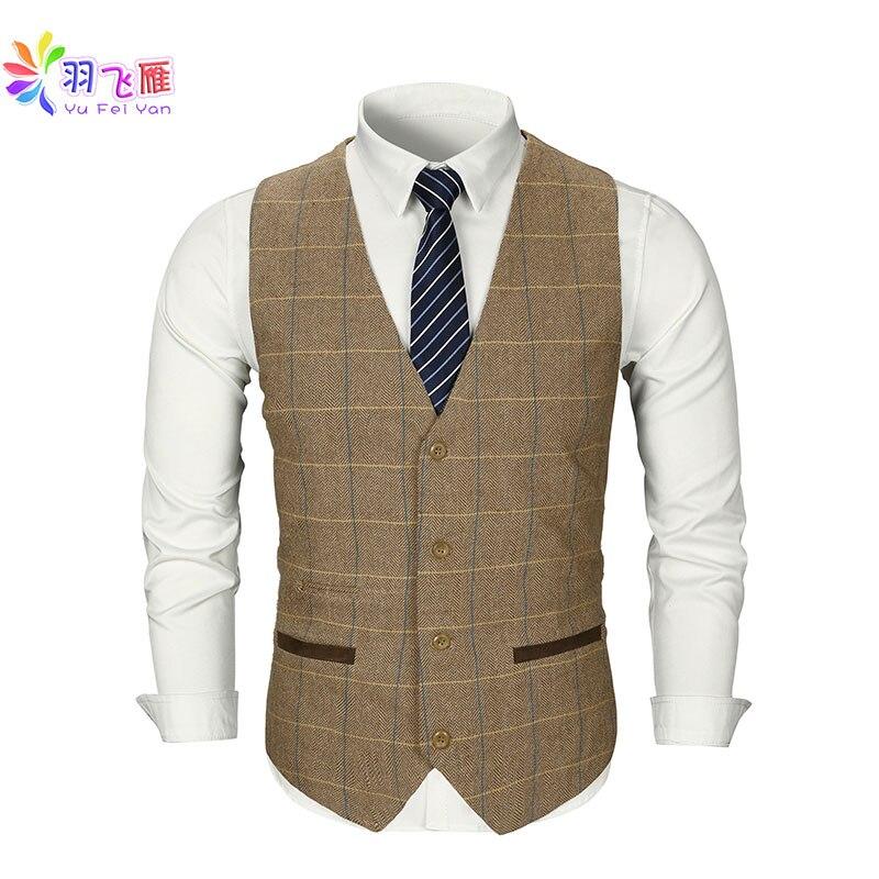 Smart Casual Men Vest Suit Brown Tweed Vest Slim Fit British Style Cotton Sing Breasted Plaid Wedding Dress Waistcoat Vest Suit