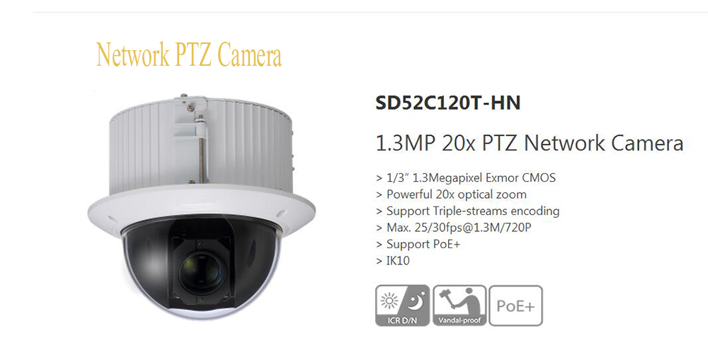 Free Shipping DAHUA 1.3Mp HD 20x Ultra-high Speed Network PTZ Dome Camera with SD Slot without Logo SD52C120T-HN dahua 2mp hd 30x ultra high speed network ptz dome camera ip67 vandalproof without logo sd50230t hn