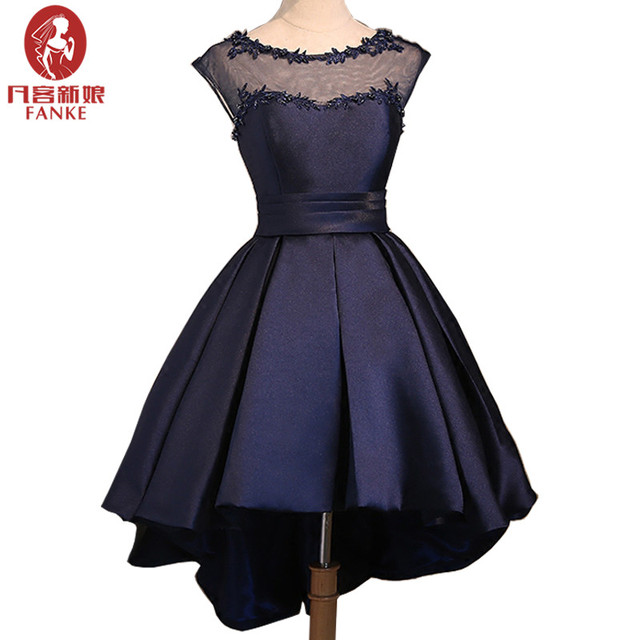 d16b5d985a5c Navy Blue Short Prom Dresses Cap Sleeves Appiques Lace Beaded Short Front  Long Back Satin Formal Evening Party Gowns