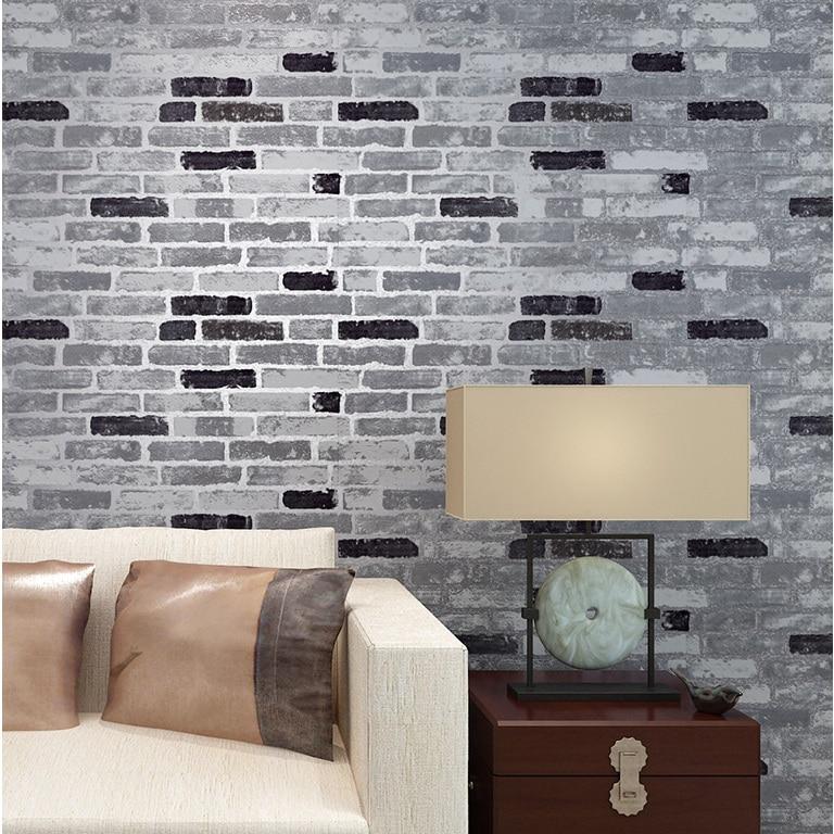haokhome pvc vinyle vintage faux brique pierre 3d papier peint gris orange rouge salon chambre. Black Bedroom Furniture Sets. Home Design Ideas