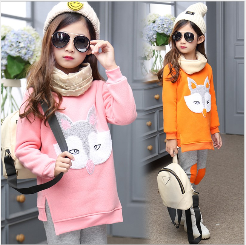 2017 Fall Winter Kids Sets Long Sleeve Two-piece Teenager Girls Clothing Cartoon Foxes Pink Velvet Children's Sports Suits 10 Y