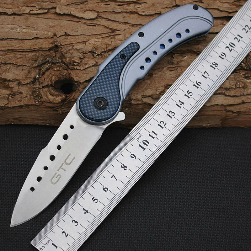New GTC Folding font b Knife b font 5cr13mov Steel Blade Pocket Survival Knifes Hunting font