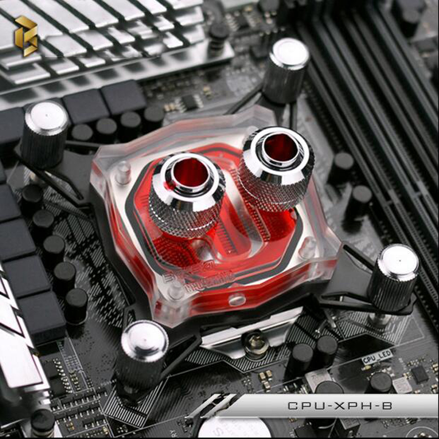 CPU Water Cooling Block Copper Base Waterblock Liquid Cooler for PC Intel  acrylic Model New rhinestone round pendant necklace for women