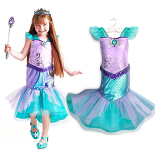 YOFEEL Princess Ariel Little Mermaid Dress for Girl Kids Party Costumes Pattern Print Sequined Gown Child Summer Fancy Clothes