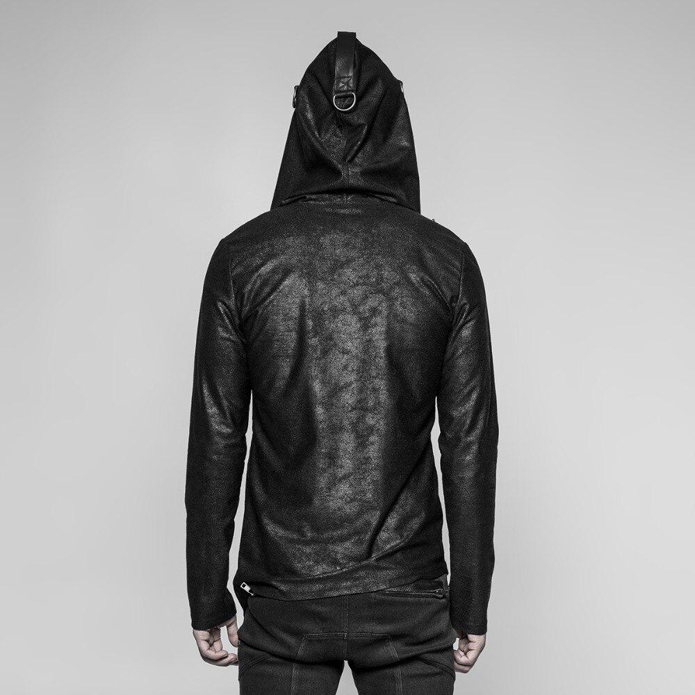 PUNK RAVE Nieuwe Punk Dagelijks Zwarte Gebreide Rits Truien Mannen Hoodie Gothic Diablo Mysterieuze Cool Fashion Street Wear Hooded - 2