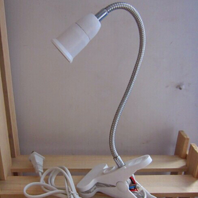 LIDERADA lâmpada de Leitura Lâmpada de Mesa Com Clip On off Interruptor Lâmpada de Mesa E27 UE EUA Plug 360 Graus Livre Torcida Mesa de Metal Flexível Tubulação luz