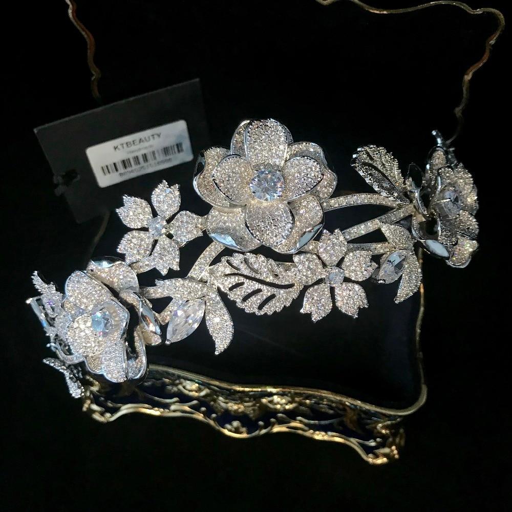 Rhinestone Zircon Custom Made Lucury Tiara Flowers Fashion Hairband Royal Bridal Wedding Dressing Crown Accessory Women