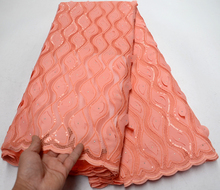 Newest Peach African Lace Fabric With Sequins 3d lace fabric 2019 High Quality Bridal For Nigerian