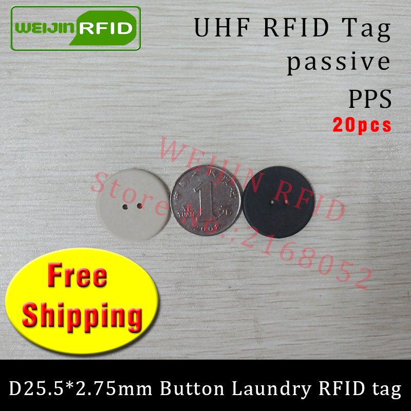 UHF RFID tag heat and water resisting EPC 6C 915mhz868mhz860-960MHZ H3 20pcs free shipping smart passive PPS RFID laundry button 860 960mhz long range passive rfid uhf rfid tag for logistic management