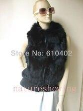 free shipping/women's real  fox collar rabbit Fur Vest / jacket lady fashion /black