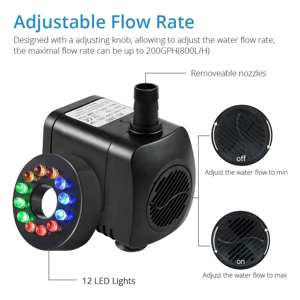Submersible Fountain Pool Water Pump With 12 Color Led Light Fish Tank Aquarium Fountain Pond Pool Pumps Decoration High Quality Bright In Colour Home Improvement