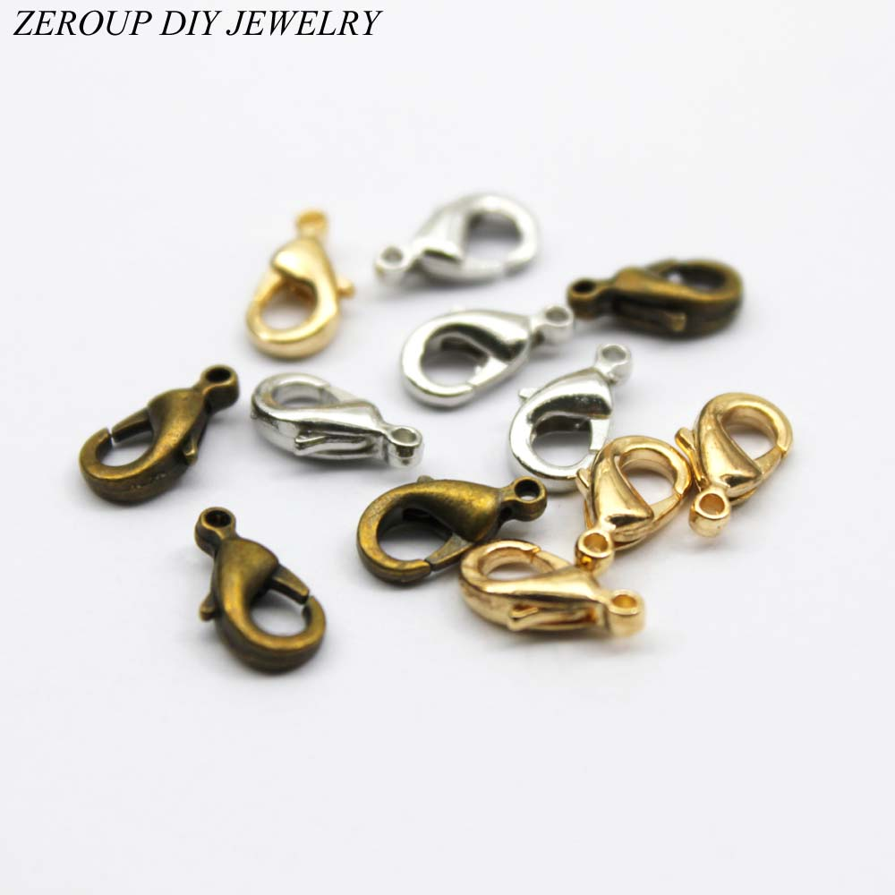 купить ZEROUP 100pcs Lobster Clasp Hooks for Necklace Chain Multicolor Clasp DIY Accessories Supplies for Jewelry Findings C-02 по цене 110.6 рублей
