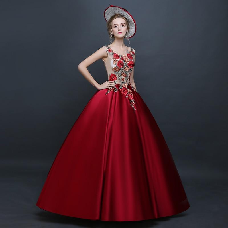 Danse Robes Pour Fleur Scène cou Robe Costume O Rouge Boule De Personnalisé Performance Femmes Broderie Longue Partie Manches D'été TngafBO