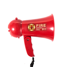 Portable Megaphone Pretend Play Kids Fire Fighters Bullhorn with Siren Sound. Handheld Mic Toy