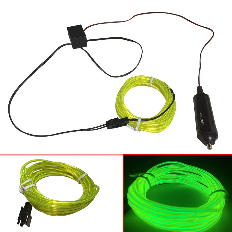 12V 3M/5M Flexible Neon Light Glow EL Wire Rope Tube Line tape ...