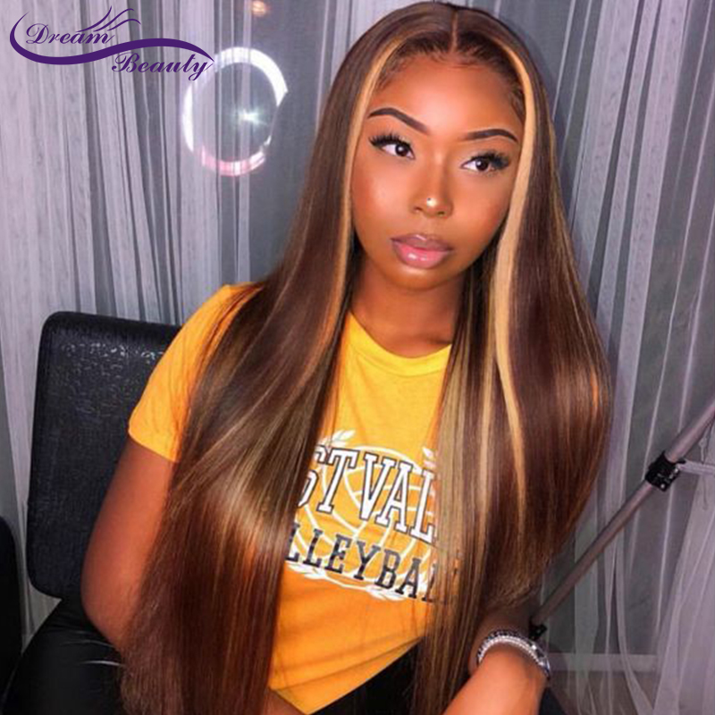 Blonde Lace Front Wigs Highlight Straight Lace Frontal Wig Brazilian Remy Lace Front Human Hair Wig Pre Plucked Dream Beauty