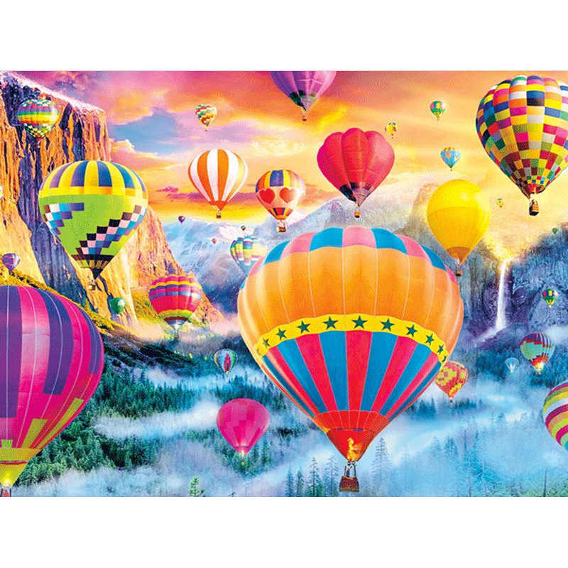 5d DIY Diamond Painting Hot air balloon Scenery diamond Embroidery landscape Cross Stitch round mosaic rhinestones unique gift