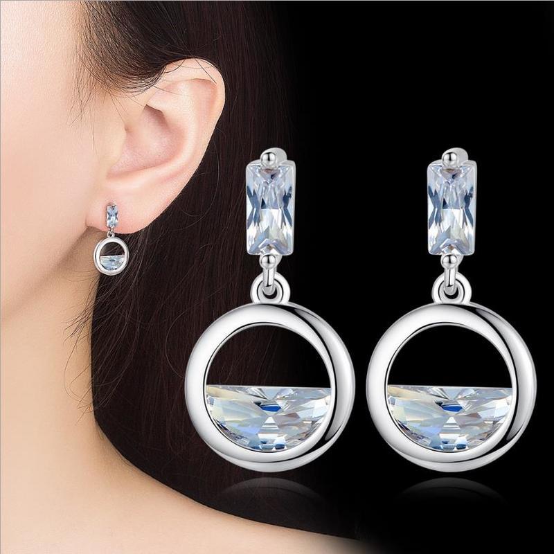 Everoyal Trendy Zircon Ocean Stud Earrings For Women Jewelry Fashion 925 Silver Girls Bride Accessories Lady