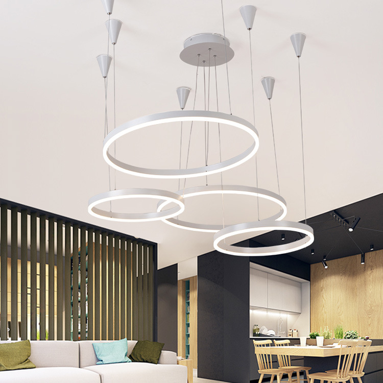 Ceiling Lights & Fans Round Circle Dining Room Acrylic Chandelier Lighting Modern Led Creative Living Room Lights Chandeliers Lamps For Dining Room