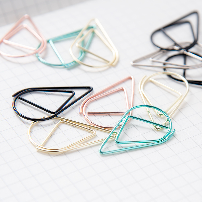 50 Pcs/lot Metal Material Drop Shape Paper Clips Gold Silver Color Kawaii Cute Bookmark Clip Office School Stationery