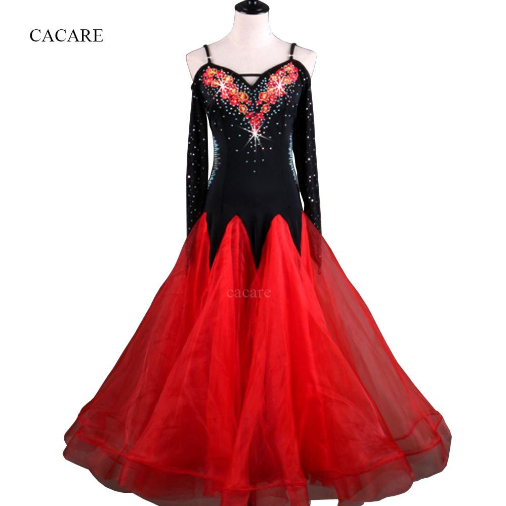 Стандартный бальный зал платье Бальные Танцевальные соревнования платья Вальс платье Красный D0236 сетка из страз рукав большой прозрачный подол