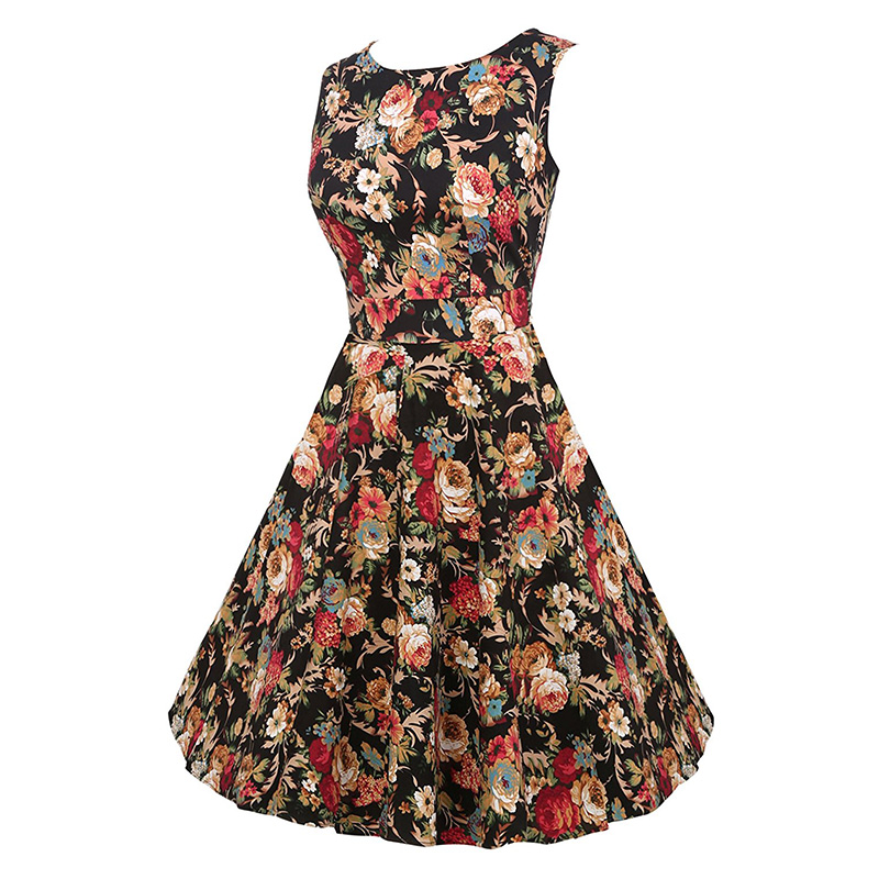 Kostlish Cotton Summer Dress Women 2017 Sleeveless Tunic 50s Vintage Dress Belt Elegant Print Rockabilly Party Dresses Sundress (34)