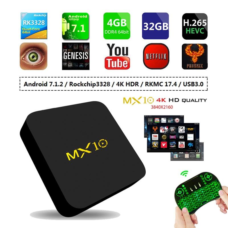 MX10 Android 8.1 Smart TV BOX 4GB DDR4 32GB EMMC RK3328 Quad Core 4K HDR 2.4GHz WIFI USB 3.0 Set Top Box PK X92 H96 mx10 pro tv box 4gb ddr3 32gb rom android 7 1 rk3328 quad core 4k hdmi 2 0 2 4g 5ghz wifi usb 3 0 smart set top box drop ship