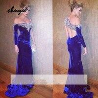Royal Blue Muslim Evening Dresses Velvet One Shoulder Mermaid Islamic Dubai Saudi Arabic Evening Gown Boho Prom Dress